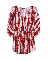 Boohoo Red Jen Tie Dye Wrap Front Batwing Playsuit