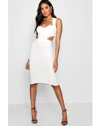 Boohoo White Sweetheart Cut Out Side Bodycon Dress