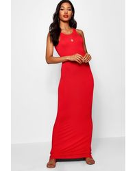Boohoo Womens Racer Front Sleeveless Maxi Dress - Red - 2
