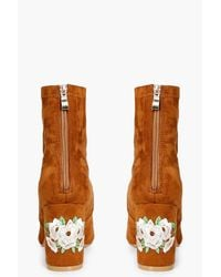 Boohoo Brown Ivy Wide Fit Embroidered Sock Boots