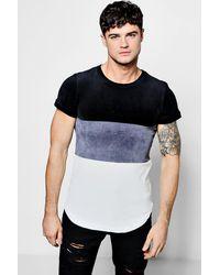 Boohoo Gray Slim Fit 3 Colour Block Velour T-shirt for men
