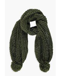 Boohoo - Green Milly Chunky Knit Pom Pom Scarf - Lyst