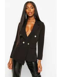 Boohoo Black Womens Double Breasted Asymmetric Hem Blazer