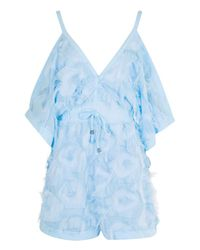 Boohoo Blue Boutique Texture Open Shoulder Playsuit