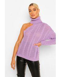 Jersey De Punto Trenzado Y Cuello Vuelto Con Cut-Out Boohoo de color Purple