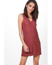Boohoo - Pink Rockie Metallic V Neck Shift Dress - Lyst