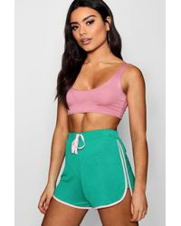 Boohoo - Green Contrast Trim Runner Shorts - Lyst