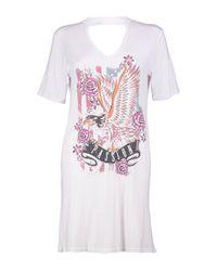 Boohoo White Aly Choker Neck Printed Band T-shirt Dress
