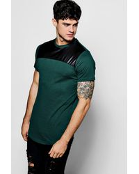Boohoo Green Slim Fit Pu Panel T-shirt With Curve Hem for men