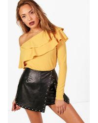 Boohoo Yellow Frill One Shoulder Top