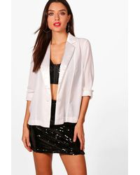 Boohoo - White Hailey Plunge Tuxedo Shirt - Lyst