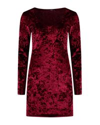 Boohoo Red Crushed Velvet Plunge Bodycon Dress