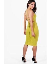 Boohoo Yellow Open Back Midi Bodycon Dress