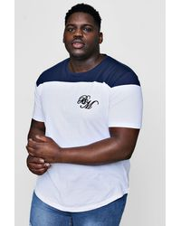 Boohoo Blue Big And Tall Colour Block Man T-shirt With Curved Hem for men