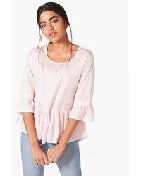 Boohoo Pink Kylie Woven Stripe Smock Top