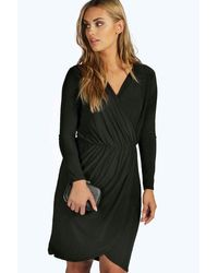 Boohoo Black Plus Leah Slinky Wrap Front Dress