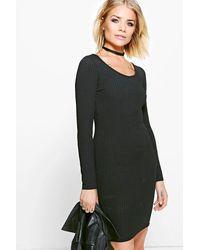 Boohoo Black Long Sleeved Ribbed Bodycon Dress