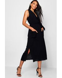 Boohoo Green Womens Sleeveless Belted Midi Shirt Dress - Black - 2