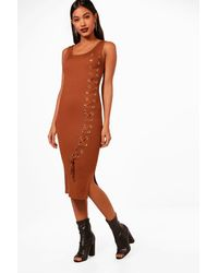 Boohoo Multicolor Layla Knitted Midi Lace Up Front Detail Dress
