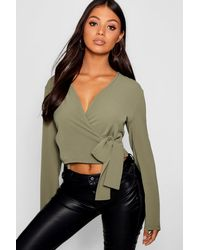 Boohoo Multicolor Petite Penny Wrap Front Blouse