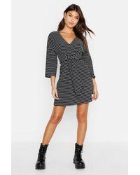 Boohoo Black Rib Stripe V Neck Tie Skater Dress