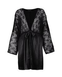 Boohoo Black Summer Bridal Lace Short Satin Night Robe