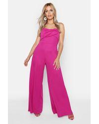Boohoo Womens Plus Twist Detail Wide Leg Jumpsuit - Pink - 18