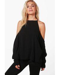 Boohoo   Black Maisie Cold Shoulder Shirt   Lyst