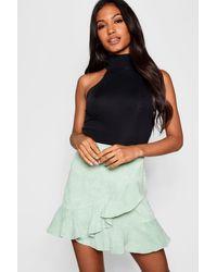 Boohoo Multicolor Wrap Ruffle Cord Mini Skirt