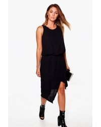 Boohoo Black Beryl Woven Wrap Detail Rouched Midi Dress