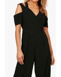 Boohoo Multicolor Off The Shoulder Culotte Jumpsuit