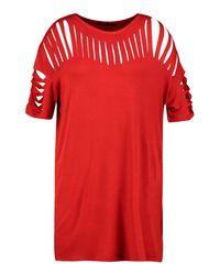 Boohoo - Red Plus Katey Slash Front T-shirt Dress - Lyst