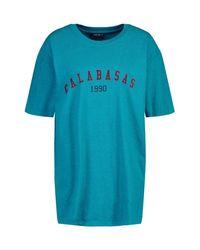 Camiseta Con Eslogan Calabasas 1990 Collegiate Boohoo de color Blue