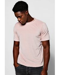Boohoo - Pink Towel T-shirt With Step Hem for Men - Lyst