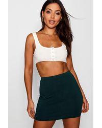 Boohoo Green Basic Jersey Mini Skirt