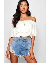 Boohoo Brown Womens Basic Off The Shoulder Frill Crop Top - White - 4