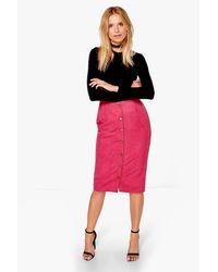Boohoo Red Marin Button Front Woven Suedette Midi Skirt