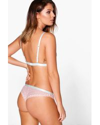 Boohoo Pink Elsa Blus Linear Lace Contrast Trim Brief
