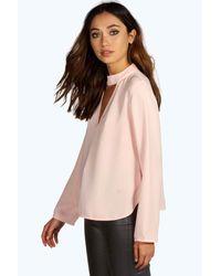 15051706e4ff Lyst - Boohoo Una Open Choker Neck Detail Long Sleeve Blouse in Pink