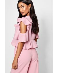 Boohoo Pink Tie Front Ruffle Woven Blouse