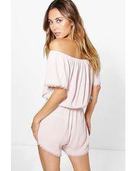 Boohoo - Pink Crochet Trim Off The Shoulder Playsuit - Lyst