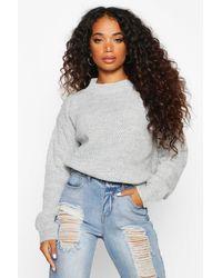 Boohoo Gray Petite Waffle Knit Marl Knitted Sweater