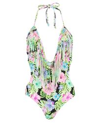 Boohoo - Multicolor Mumbai Neon Tropic Fringed Plunge Swimsuit - Lyst