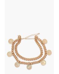 Lot De 2 Bracelets De Cheville Pièce Et Chaîne Boohoo en coloris Metallic