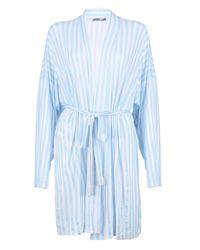 Boohoo Blue Tall Chana Striped Lounge Robe