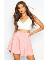 Boohoo Pink Womens Basic Scuba Box Pleat Mini Skater Skirt