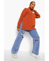 Boohoo Multicolor Plus Roll Neck Side Split Jumper