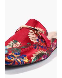 Boohoo - Red Amelie Oriental Print Mule Loafer - Lyst