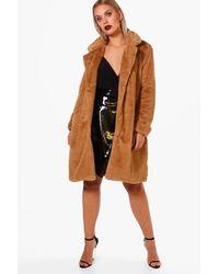 Boohoo Brown Plus Indea Longline Fur Coat