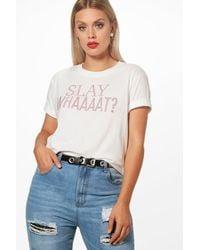 Boohoo White Plus Kate Slay With Rhinestone T Shirt